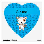 Personalized name dog blue anchors pattern wall stickers