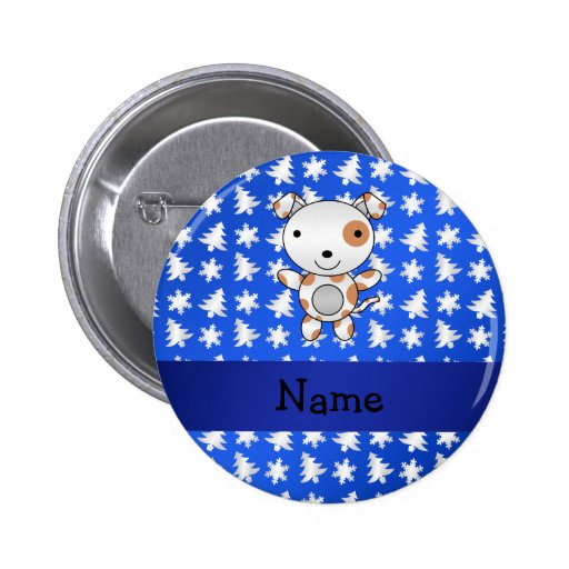 Personalized name dog blue snowflakes trees 2 inch round button