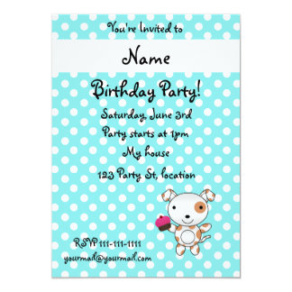 Personalized name dog cupcake blue polka dots invitations