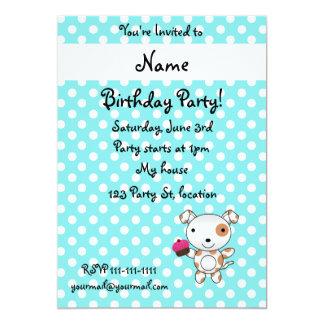 Personalized name dog cupcake blue polka dots invitations