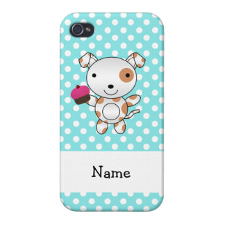 Personalized name dog cupcake blue polka dots cover for iPhone 4