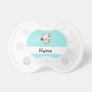 Personalized name dog cupcake blue polka dots pacifier