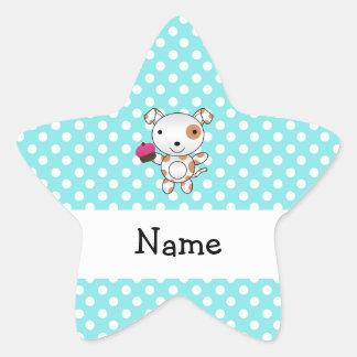 Personalized name dog cupcake blue polka dots star sticker