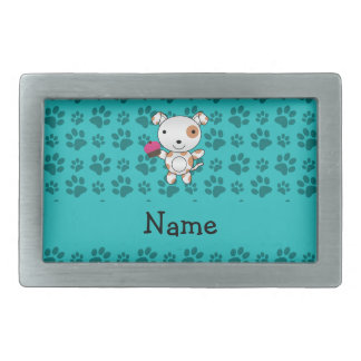 Personalized name dog cupcake turquoise paws belt buckles
