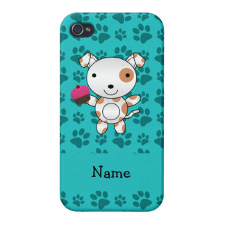 Personalized name dog cupcake turquoise paws covers for iPhone 4