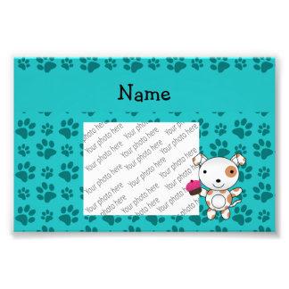 Personalized name dog cupcake turquoise paws art photo