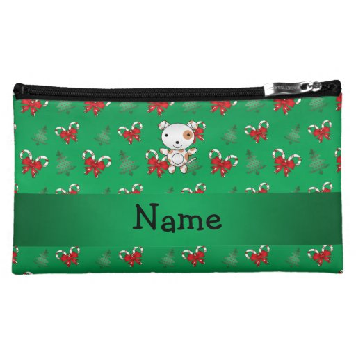 Personalized name dog green candy canes bows cosmetics bags