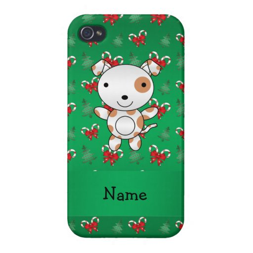Personalized name dog green candy canes bows cover for iPhone 4