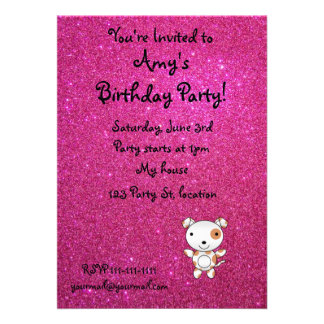 Personalized name dog pink glitter personalized invitation