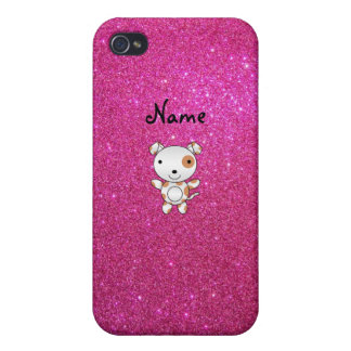 Personalized name dog pink glitter case for iPhone 4