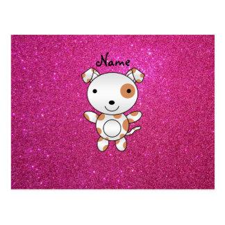 Personalized name dog pink glitter postcard