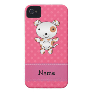 Personalized name dog pink polka dots iPhone 4 covers