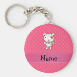 Personalized name dog pink polka dots key chains