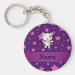 Personalized name dog pink stars purple key chains