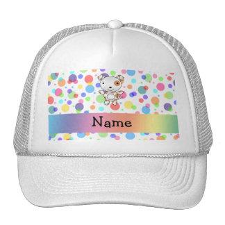 Personalized name dog rainbow polka dots hat
