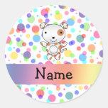 Personalized name dog rainbow polka dots round sticker