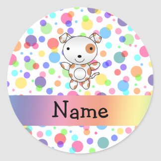 Personalized name dog rainbow polka dots classic round sticker