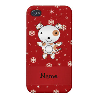 Personalized name dog red snowflakes case for iPhone 4