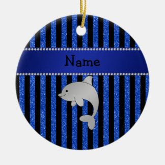 Personalized name dolphin black blue glitter strip christmas tree ornament