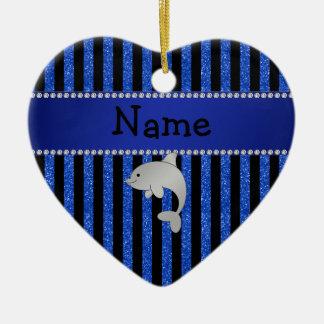 Personalized name dolphin black blue glitter strip ornament