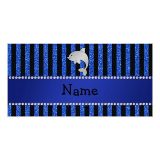 Personalized name dolphin black blue glitter strip photo cards