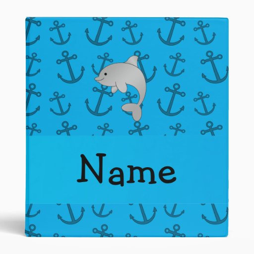 Personalized name dolphin blue anchors pattern 3 ring binders