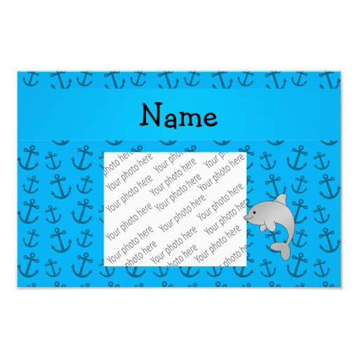 Personalized name dolphin blue anchors pattern photo print