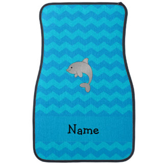 Personalized name dolphin blue chevrons car mat