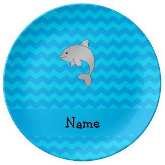 Personalized name dolphin blue chevrons porcelain plate