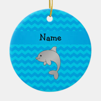 Personalized name dolphin blue chevrons christmas ornament
