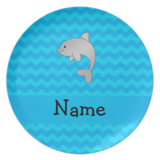 Personalized name dolphin blue chevrons plates