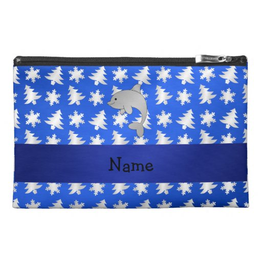 Personalized name dolphin blue snowflakes trees travel accessories bags