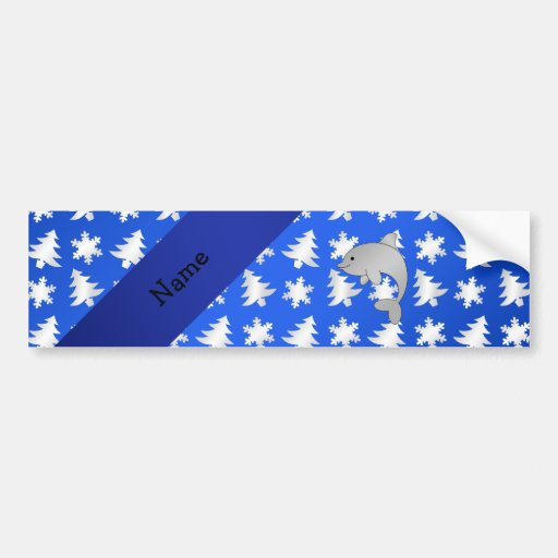 Personalized name dolphin blue snowflakes trees bumper stickers