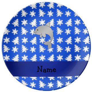 Personalized name dolphin blue snowflakes trees porcelain plate