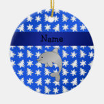 Personalized name dolphin blue snowflakes trees christmas ornament