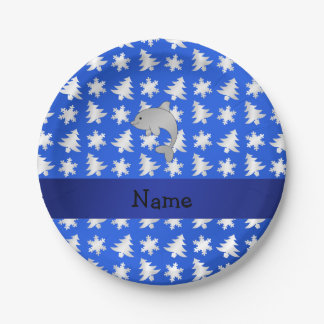 Personalized name dolphin blue snowflakes trees 7 inch paper plate