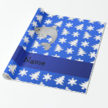 Personalized name dolphin blue snowflakes trees gift wrap paper