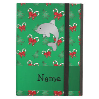 Personalized name dolphin green candy canes bows iPad covers