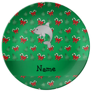 Personalized name dolphin green candy canes bows porcelain plate