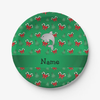 Personalized name dolphin green candy canes bows 7 inch paper plate