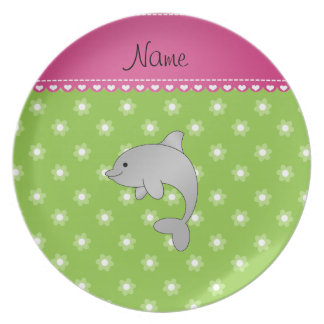 Personalized name dolphin green flowers dinner plate
