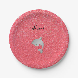 Personalized name dolphin light pink glitter 7 inch paper plate