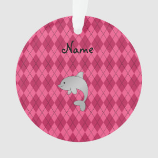 Personalized name dolphin pink argyle