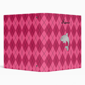 Personalized name dolphin pink argyle binders