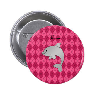 Personalized name dolphin pink argyle 2 inch round button