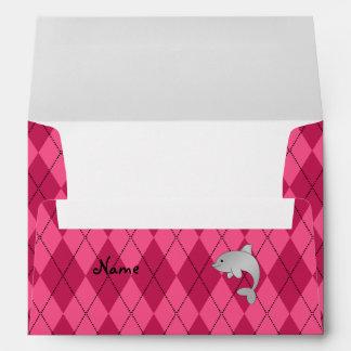 Personalized name dolphin pink argyle envelopes