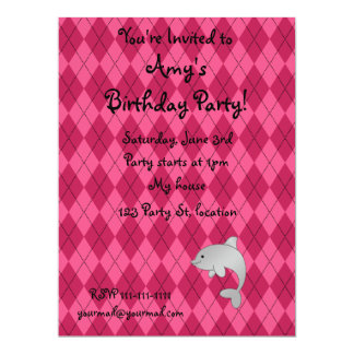 "Personalized name dolphin pink argyle 6.5"" x 8.75"" invitation card"