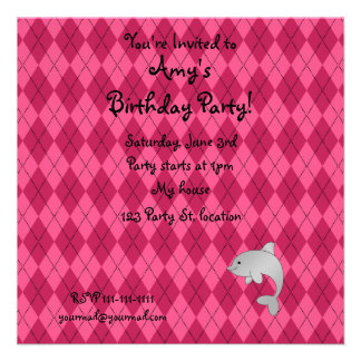 Personalized name dolphin pink argyle personalized invite