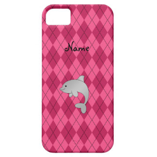 Personalized name dolphin pink argyle iPhone SE/5/5s case