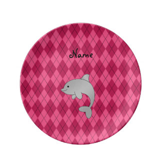 Personalized name dolphin pink argyle porcelain plates